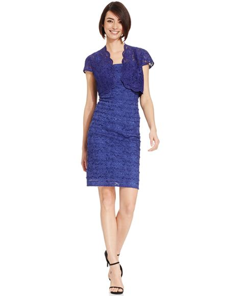 Set Longdress Bolero alex evenings cap sleeve bolero jacket dress in blue lyst