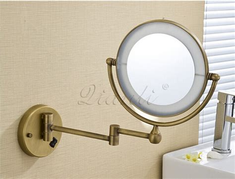 wall mounted bathroom makeup mirror solid brass 8 inches magnifying bath mirror bronze wall mounted 8 inch brass 3x 1x