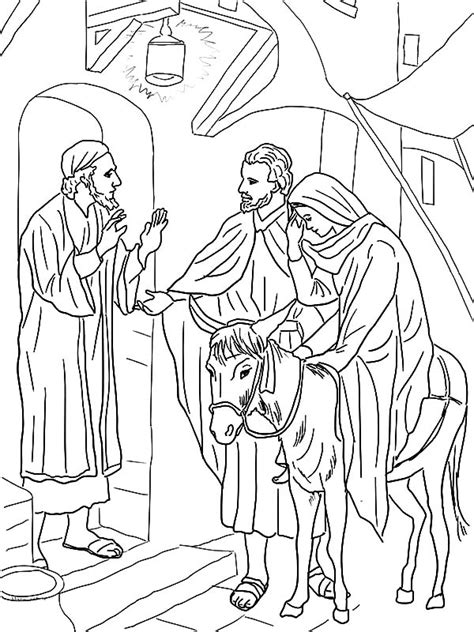 coloring pages mary and joseph bethlehem no room at the inn for mary and joseph and the donkey
