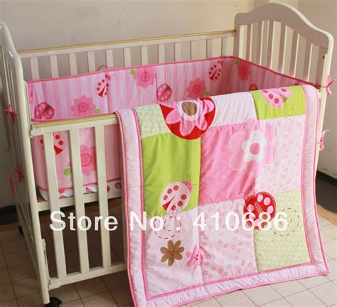 Baby Crib Items New Pink Ladybug Flowers Baby Crib Bedding Set 3