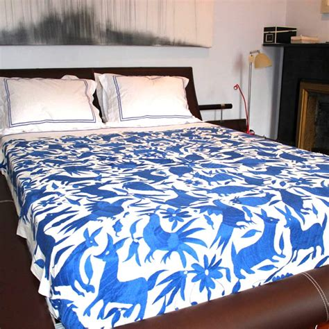 mexican bedding otomi bedspread blue