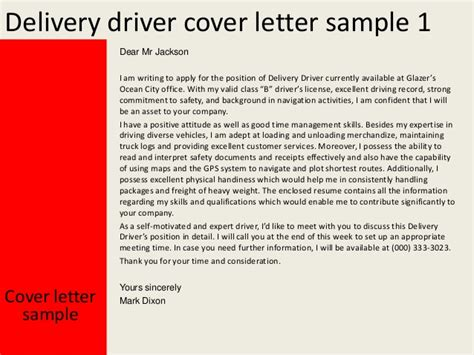 Class B Truck Driver Cover Letter by Delivery Driver Cover Letter