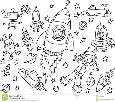 libro doodles in outer space alien doodle illustration set cartoon vector cartoondealer com 71542697