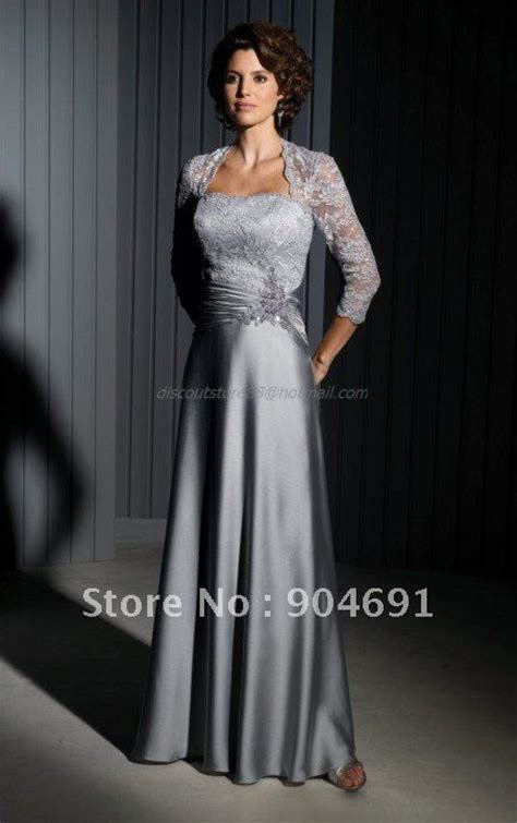 2012 Mother of the Bride Dress Silver Gry Satin Lace Floor