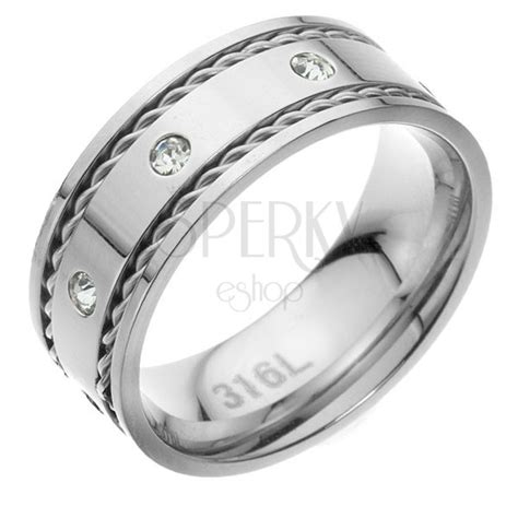 wedding ring made of surgical steel with zircons and