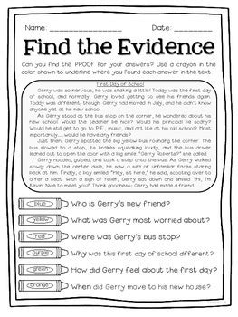 Citing Evidence Worksheet by Text Detectives Find The Text Evidence Freebie Sler
