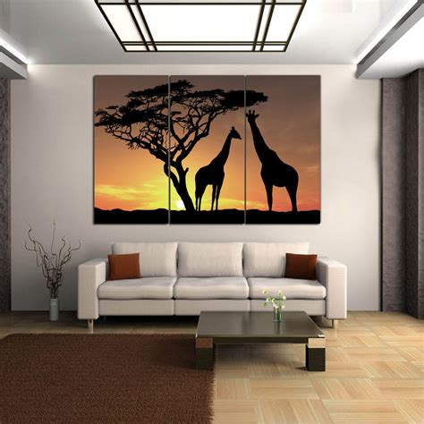 home interior wall pictures hd canvas print home decor wall picture poster big tree giraffe wood framed ebay
