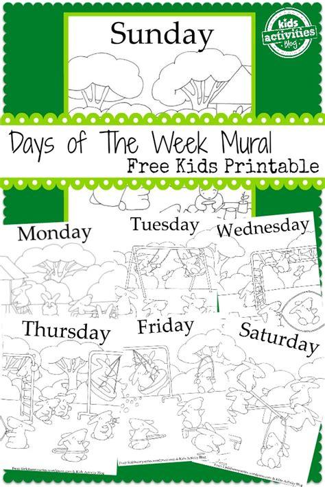 printable board games days of the week days of the week mural free kids printable