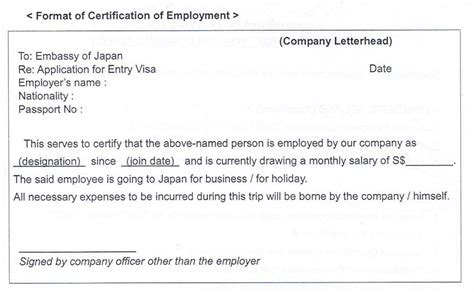 certification letter for visa application employment certificate letter sle for visa application