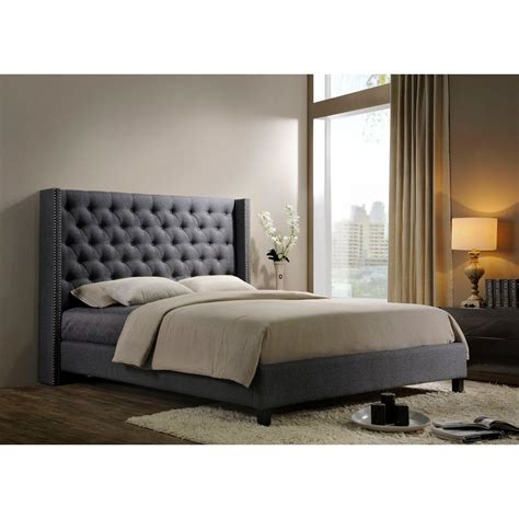 tufted headboard king homesullivan taraval metal charcoal linen headboard king