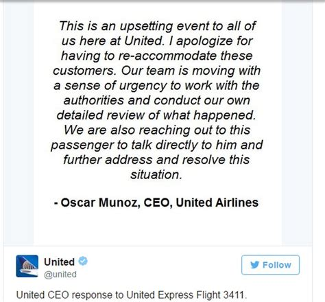 united airlines reviewing hubs management structure ceo shocking passenger dragged from overbooked united