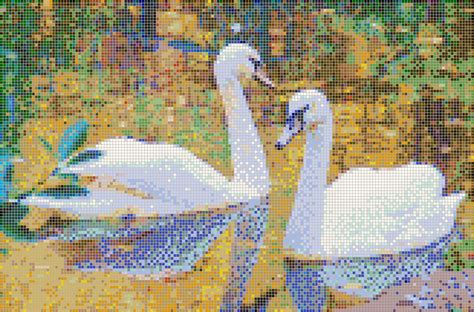 mosaic pattern wall autumn swans framed mosaic wall art