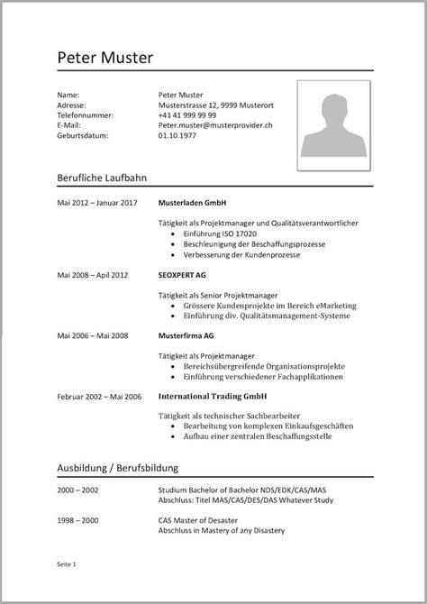 Lebenslauf Vorlage Schweiz by Lebenslauf Vorlagen Muster Kostenlose Word Vorlage