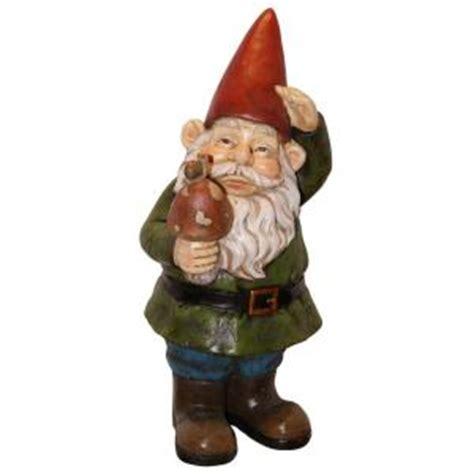 alpine gnome holding  mushroom statue wac  home depot