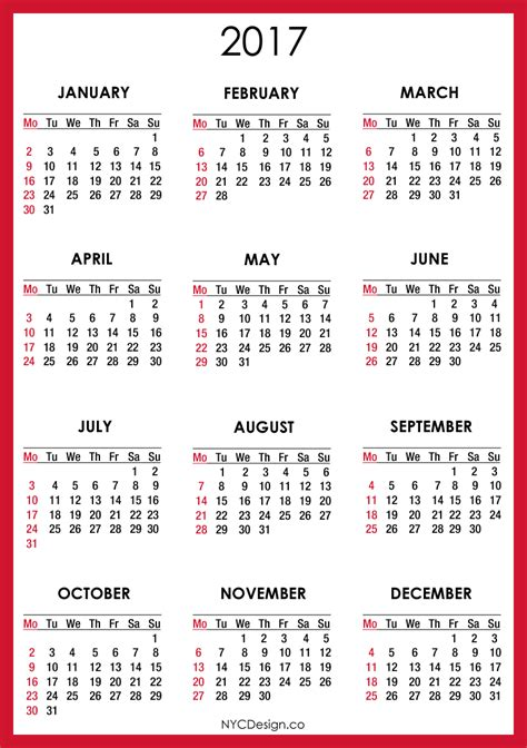 printable calendar 2017 starting monday new york web design studio new york ny 2017 calendar