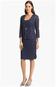 alex evenings embellished lace dress jacket petite in blue