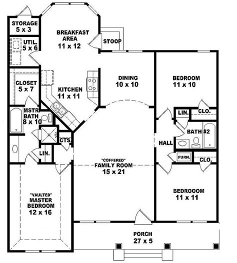 ranch style house plan 3 beds 2 baths 1700 sq ft plan 654069 one story 3 bedroom 2 bath ranch style house