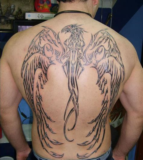 large tribal tattoo tribal large wings on back