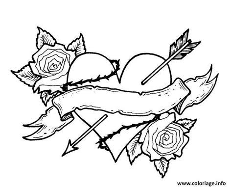 large rose coloring page coloriage coeur fleur rose fleche vintage dessin