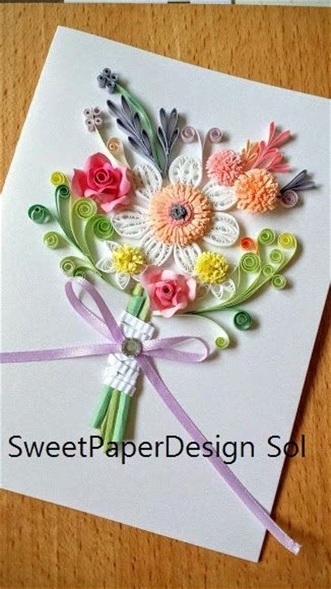 Paper Flowers For Cards - paper quillied beautiful flower bouquet for wedding