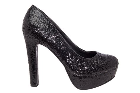 Platform High Heel Glitter Pumps black glitter high heel platform pumps large