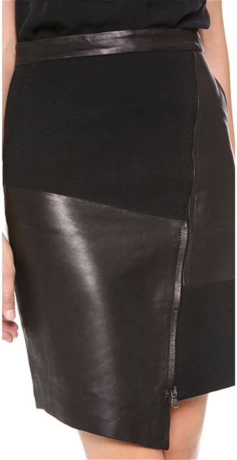 tibi patchwork leather skirt in black lyst