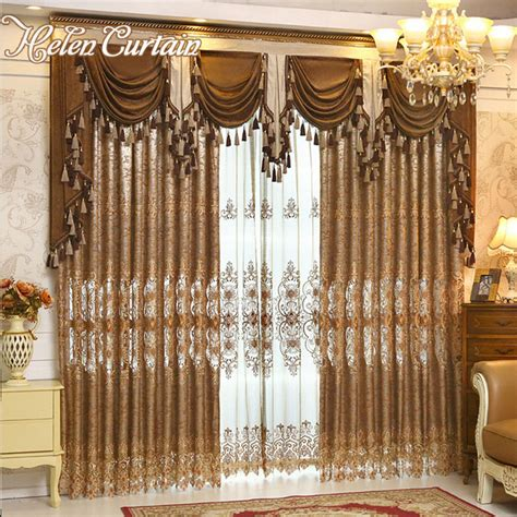 living room valance curtains aliexpress com buy helen curtain luxury gold embroidered