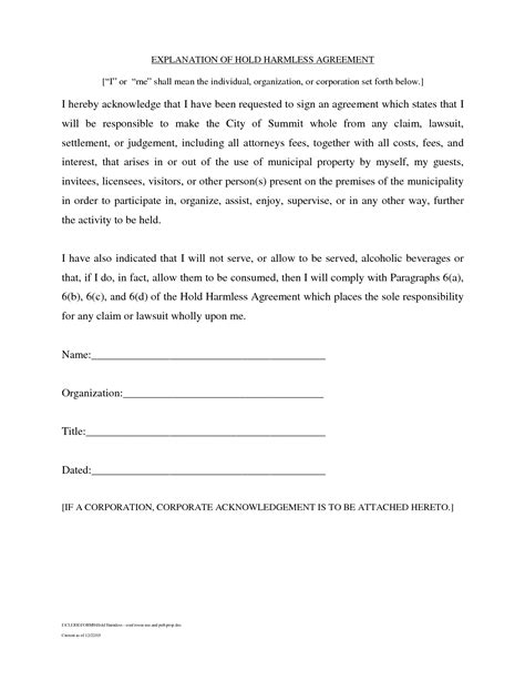 hold harmless agreement template hold harmless agreement template best business template