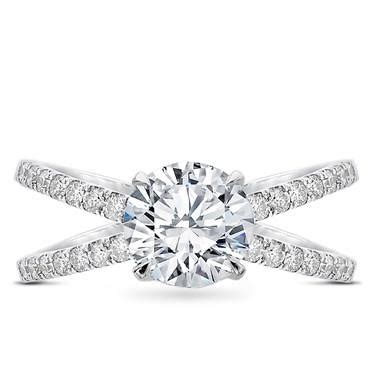 criss cross engagement ring setting r3095