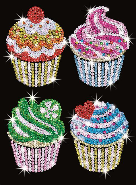 sequin art craft kit cupcakes  hobbies