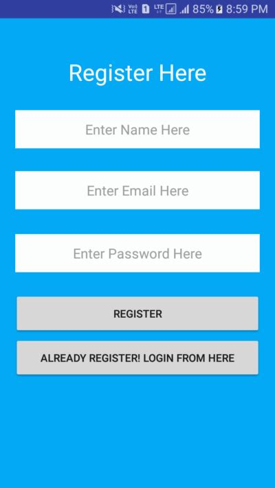android studio registration tutorial android login 1 android exles