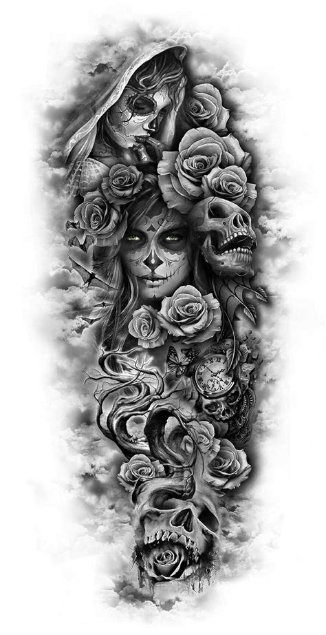 skull roses sleeve tattoo designs best 25 skull sleeve tattoos ideas on leg