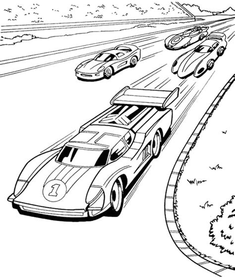cars birthday coloring pages four car hot wheels speeding coloring page color