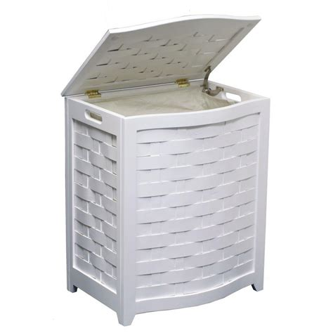 Oceanstar White Bowed Front Veneer Wood Laundry Her White Wood Laundry