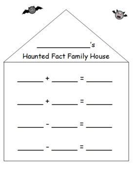 fact family house haunted fact family house halloween math printable k 1 2 common core math