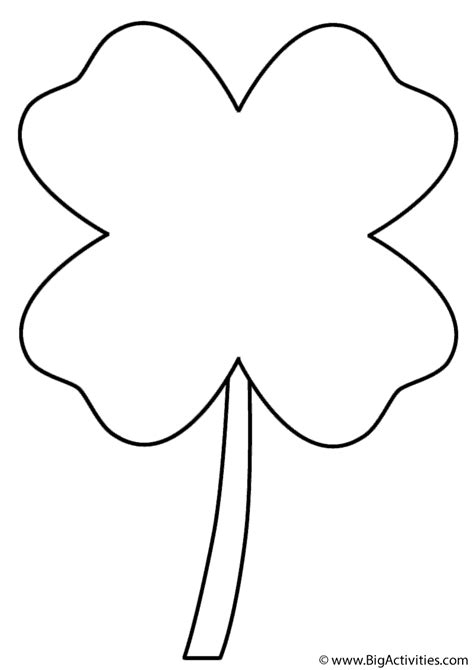 Four Leaf Clover Coloring Page St Patrick S Day Four Leaf Clover Color Page