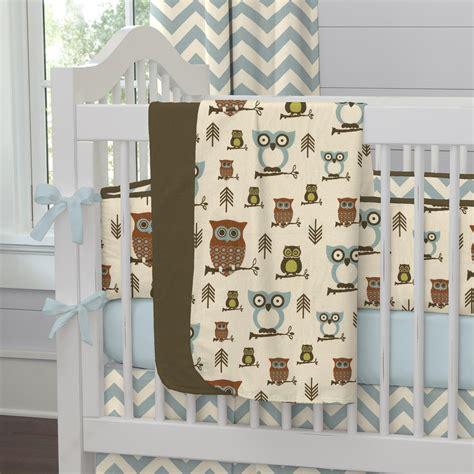 Owls Crib Bedding by Retro Owls Crib Blanket Carousel Designs