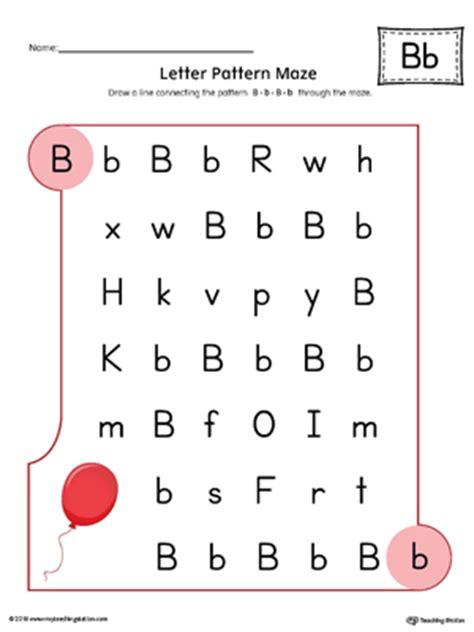 Letter B Pattern Maze Worksheet (Color