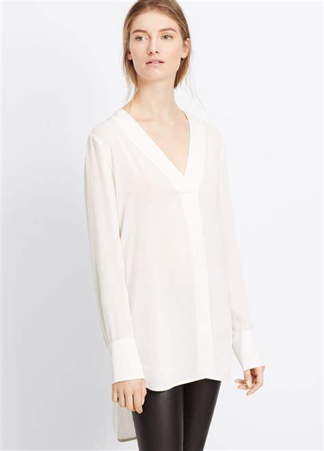 V Neck Sleeve Blouse lyst vince crepe sleeve v neck blouse in white