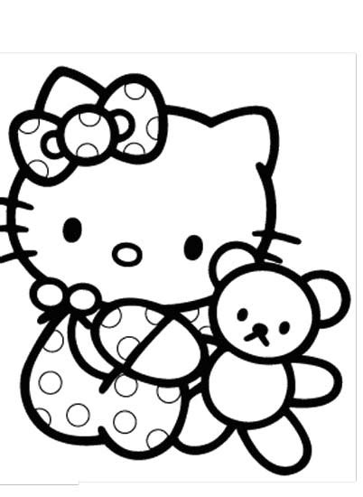 coloring pages hello kitty baby hello kitty is very dear to her doll coloring page