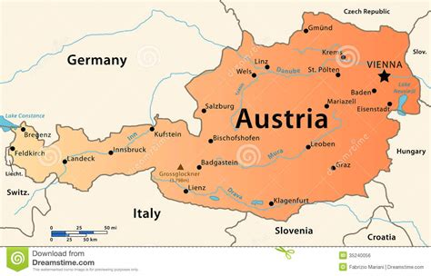 austria map with cities austria map royalty free stock image image 35240056