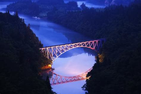 tadami river first iron bridge | zekkei japan