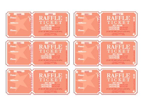 Raffle Tickets 6 Per Page Free Certificate Templates In Tickets Certificates Category Raffle Certificate Template