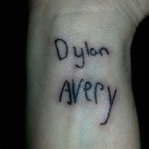 tattoo name writing name tattoo on wrist in kids handwriting dylan avery