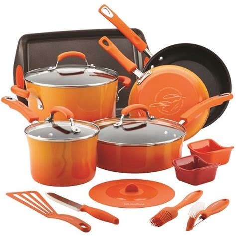 kitchen cookware bakeware nonstick cookware bakeware set orange large pots and pans
