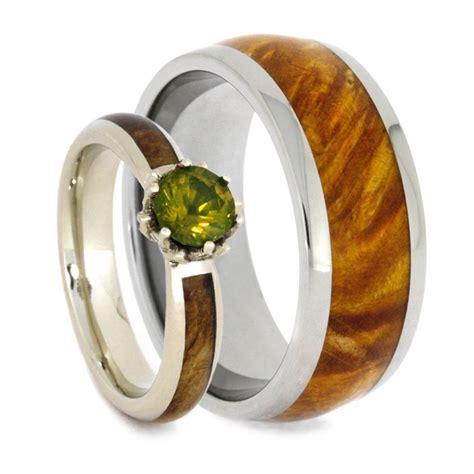 wood wedding ring set peridot engagement ring with wood ring