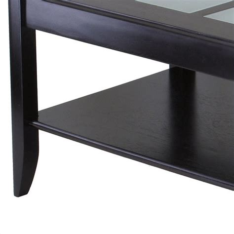 espresso coffee table with glass top solid wood glass top rectangular coffee table in espresso