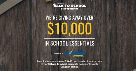 School Sweepstakes - canada s back to school sweepstakes win over 10 000 in school essentials at