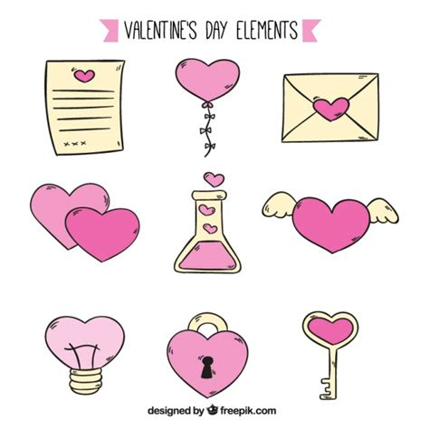 valentines day items yellow and pink items for s day vector free