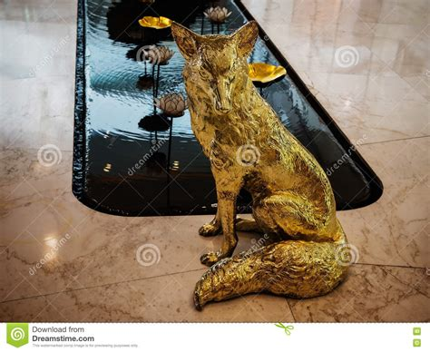 metal sculpture lotus pond hotel decoration home decor golden wolf statue stock photo image 73870224